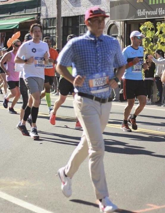 This guy dressed as Forrest Gump running the New York City Marathon