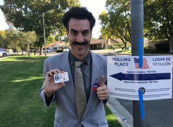 Today, Sacha Baron Cohen voted dressed as Borat. It was a GREAT SUCCESS!