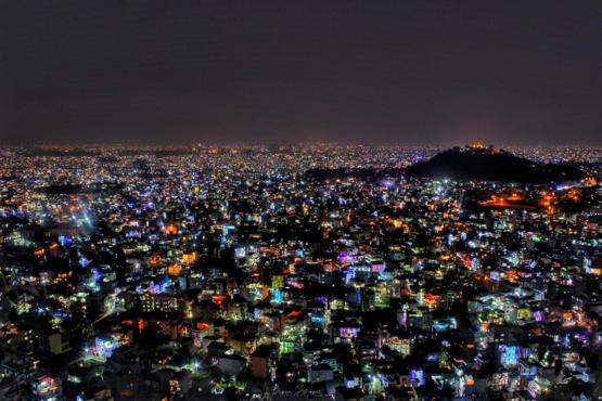 City of Kathmandu as seen during festival of lights.