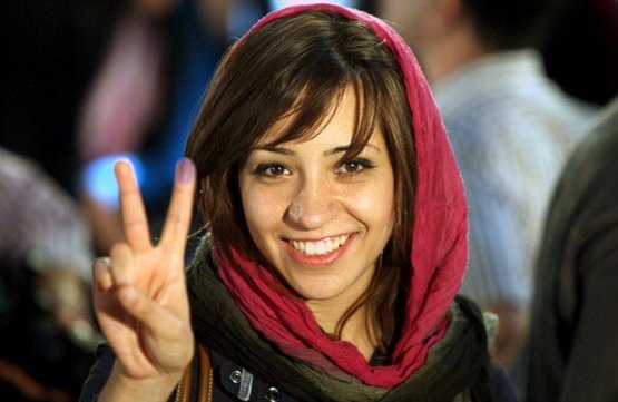 Iranian woman just after voting