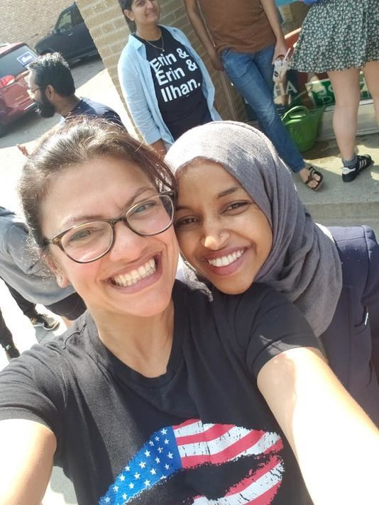 Rashida Tlaib and Ilhan Omar together, the first two Muslim women elected to Congress