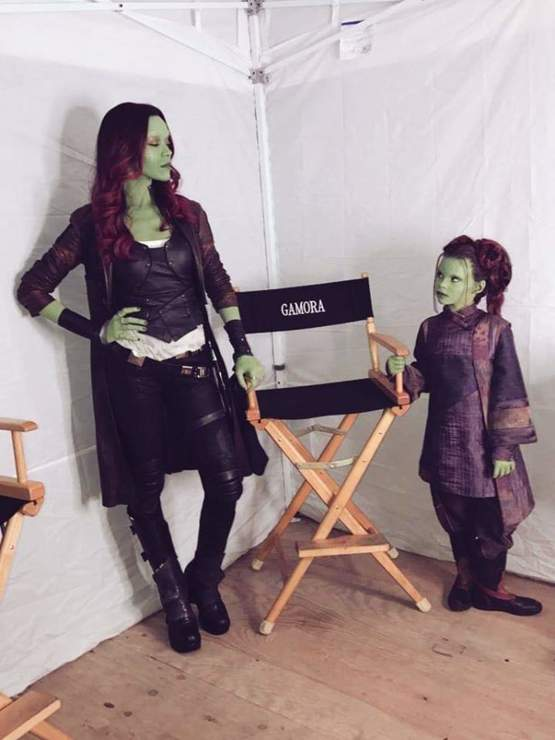 Gamora and Little Gamora at their Infinity War seat