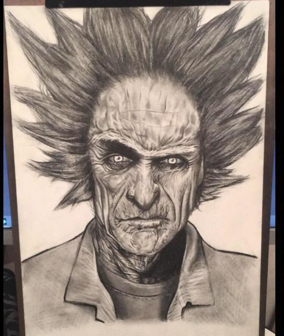My realistic (and a bit spooky) Rick Sanchez drawing
