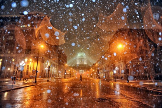Tonight was the first snowfall of the year for Madison, Wisconsin