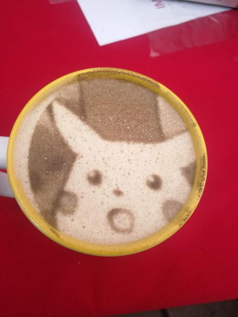 A coworker : You can print anything you want in your cappuccino, Me: