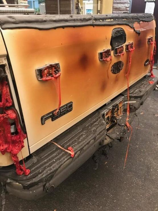 Truck that narrowly escaped the camp fire in Northern California.