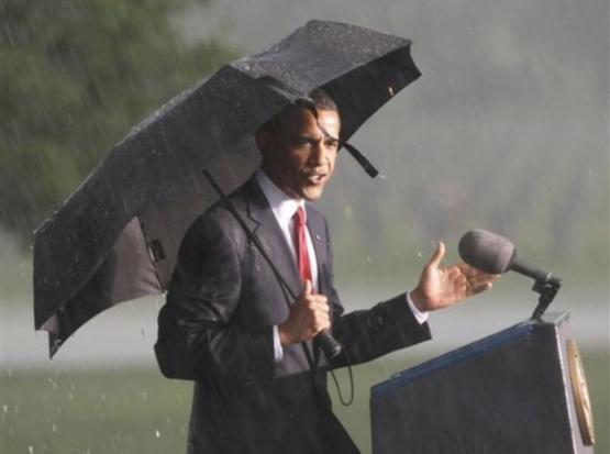 When the U.S. had a president who wouldn't let a little rain stop him from honoring the troops