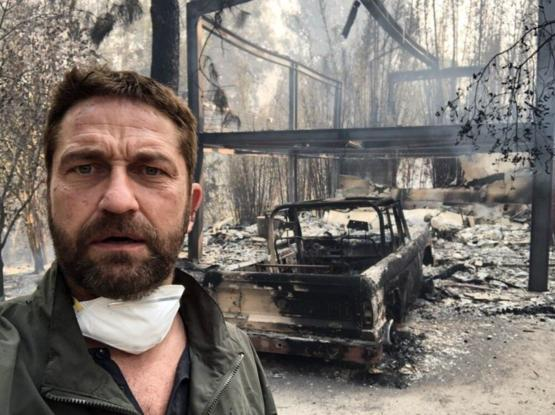 Gerard Butler and his house after fire