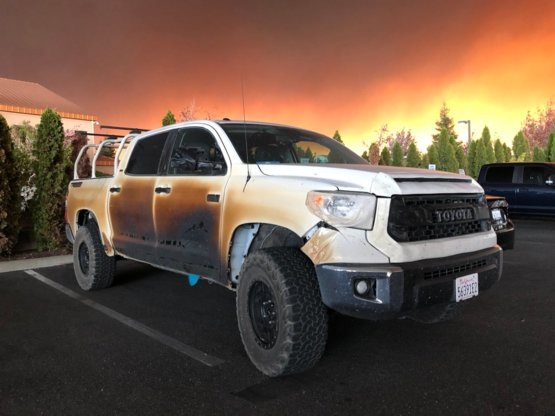 the truck of Nurse Allyn Pierce who drove this truck through the flames of California to save lives.