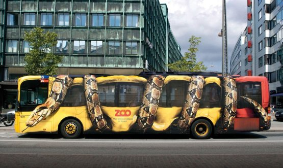 One of the best results of a bus advertising: a giant constrictor snake squeezing Copenhagen citybus as part of a campaign for the city zoo