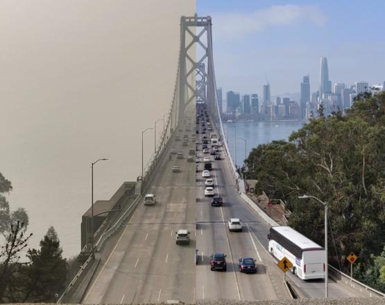 San Francisco Bay Bridge before and after the Camp Fire