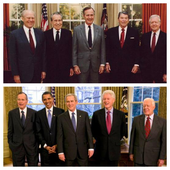 Jimmy Carter with seven other presidents