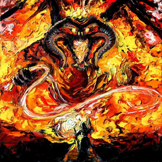My oil painting of the battle between Gandalf and Balrog from Lord of the Rings