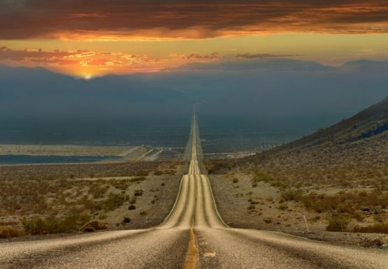 The road through Death Valley, IT stretches more than 200 kilometers in a straight line