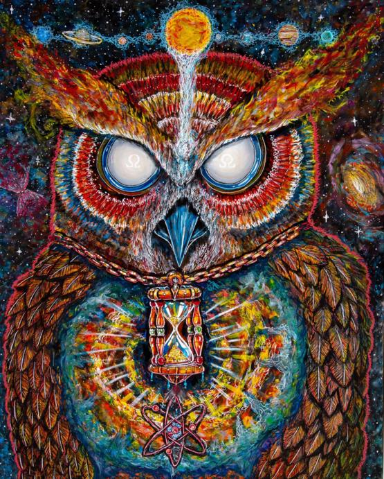 I painted this celestial owl that I saw in a dream