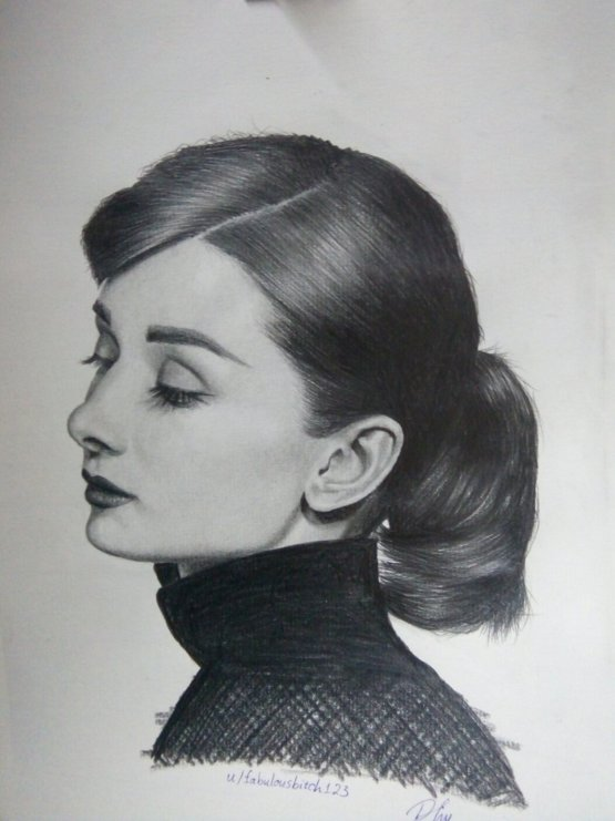 It took me 6 hours to finish this drawing of the most beautiful actress - Audrey Hepburn