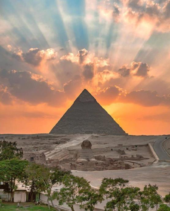 Sunrise over the Pyramid of Khafre