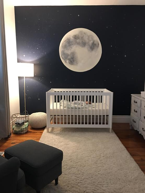 My hand painted moon mural for my baby