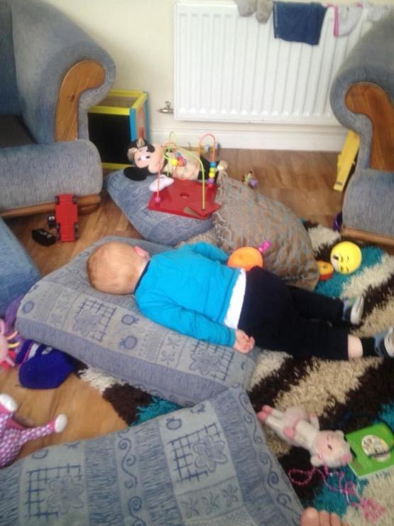 My son, Wrecked the place, then had a nap.