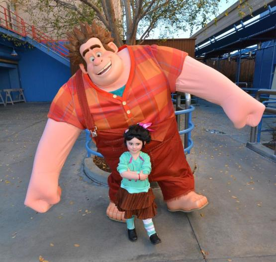 My Daughter as Venellope Meeting Wreck-it Ralph at Disneyland Yesterday!