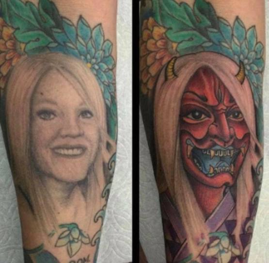 A man decided to cover up the tattoo of his ex wife