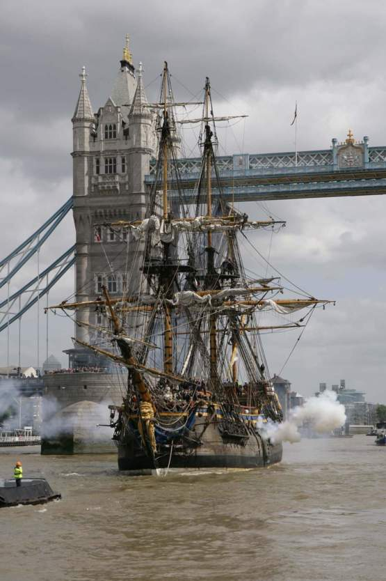 Perfect replica of the 282 year old East India Trading Company ship sailing into London.