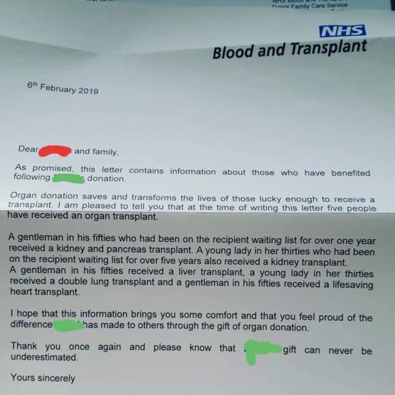 If you die in the UK and are on the organ donor register, the NHS will send a letter to your family explaining what happened to your organs