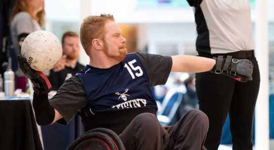 My brother in action while playing wheelchair rugby!!! I'm so proud of him