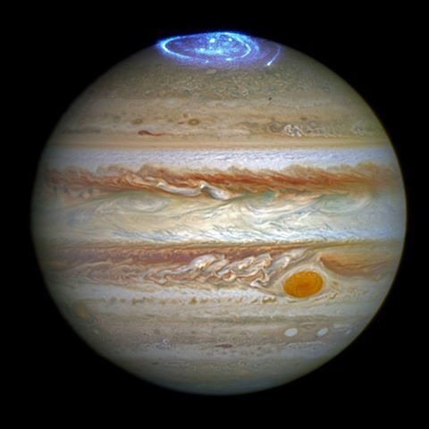 Auroras of Jupiter's poles as captured by the Hubble Telescope