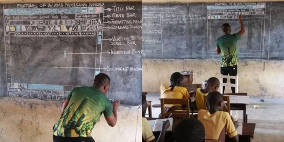 This teacher in Ghana is teaching studends Microsoft Word without a computer.