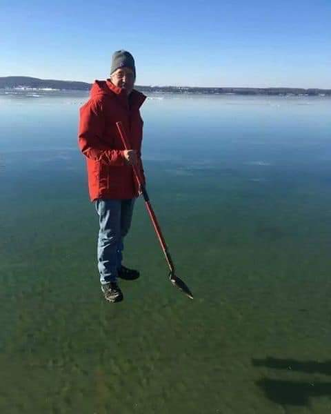 Lake Charlevoix in Michigan has the clearest ice you will ever see.