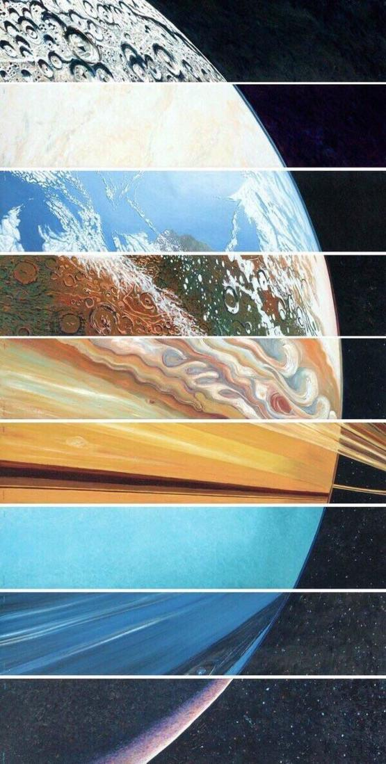 All the planets aligned on their curve.