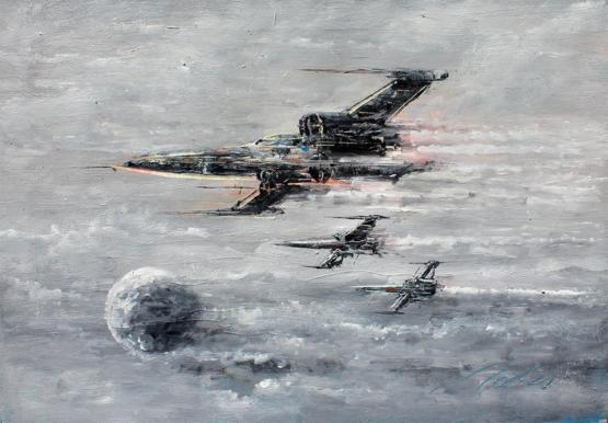 My oil painting of X-Wing Fighters