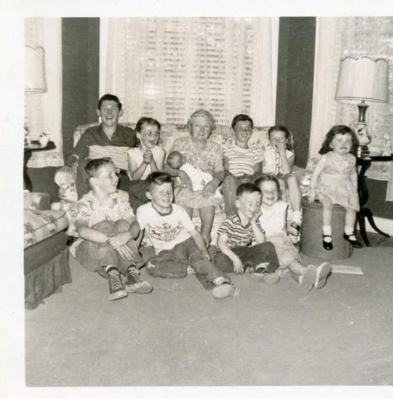 My father, his siblings, and their cousins, 1956. Zoom in to see the pure joy on everyone's face except for the little girl on the end. That's is my great-aunt crying because she farted a second before the picture and everyone started to laugh