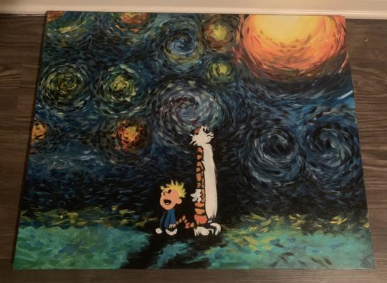"A friend gifted me this painting today. ""You know, Hobbes, some days even my lucky rocket ship underpants don't help."" Oil on Canvas 16"" x 20."""
