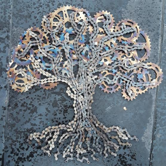 Here's a tree I made by welding scrap bicycle parts