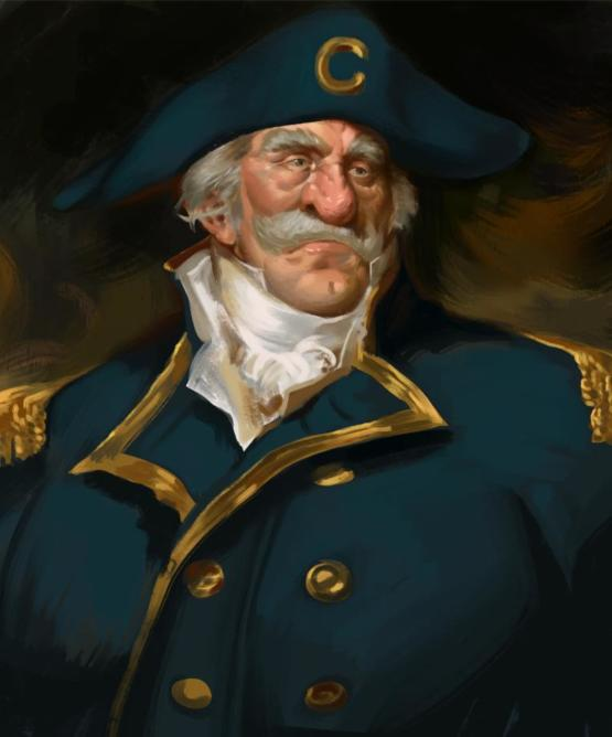 18th century style naval portrait painting of sir Captain Crunch the first. You're welcome.