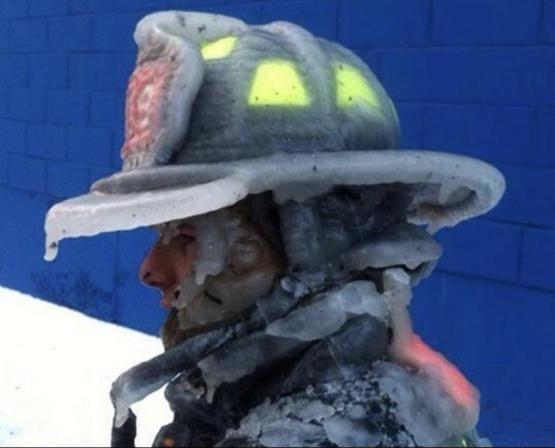 A fireman's helmet after six alarm fire in Brooklyn