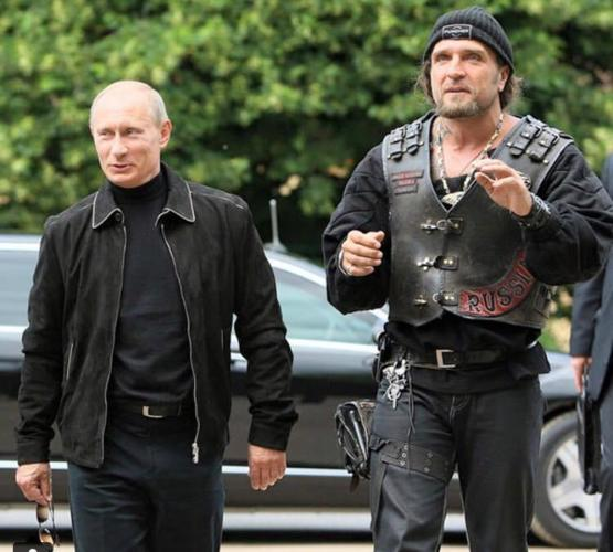 Vladimir Putin with The Surgeon, the leader of the Night Wolves, a motorcycle gang funded by the Russian government that advocates for its policies. Can't make this stuff up.