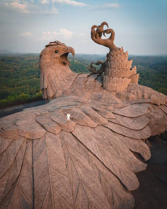 This is Jadayupara, the largest avian sculpture in the world. It has a 150 foot (46m) wingspan that covers 15,000 square feet (1,400 square meters)