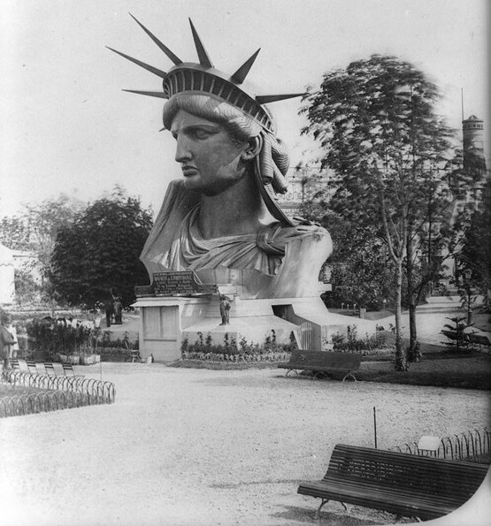Parts of the Statue of Liberty went on display to raise money for her construction; Her head at the Paris World's Fair 1878