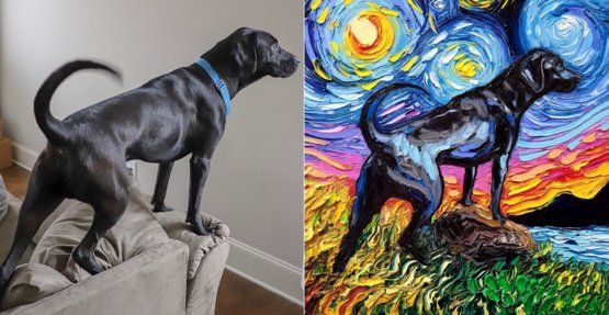 Side by side image of Bailie the Black Lab and my oil painting of her!