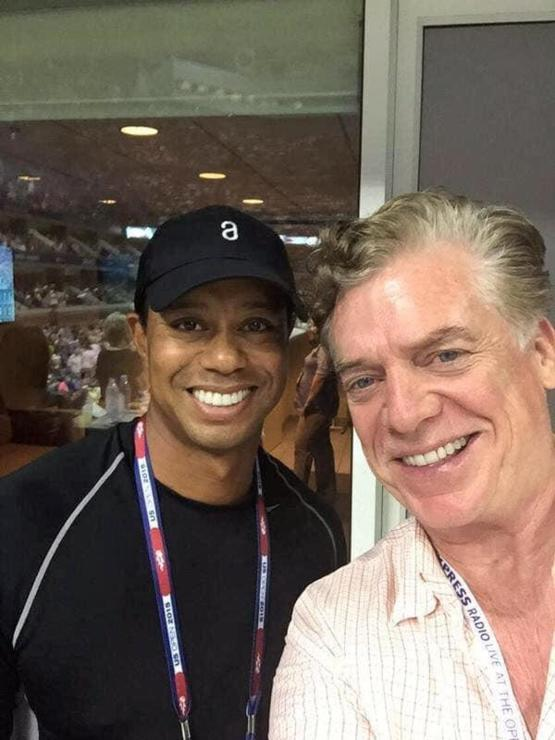 Tiger Woods takes a photo with the greatest golfer of all time, Shooter McGavin