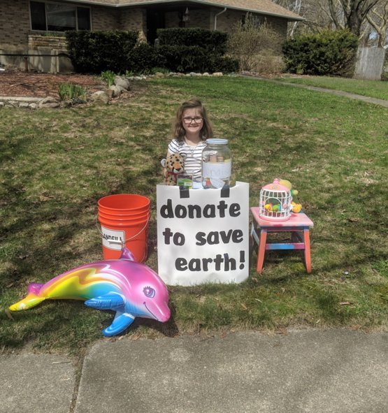 My 7 yr old daughter sat outside for 3 hours today on her day off from school to help raise money for cleaning plastic out of our oceans and water ways. She made $35. I'm so proud of her!