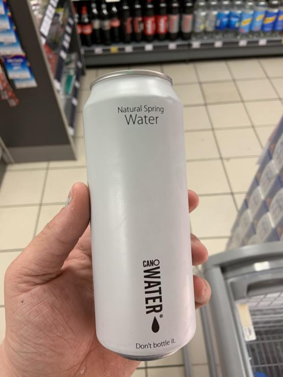 Shop near me started selling canned water to be more recycling friendly than plastic bottles
