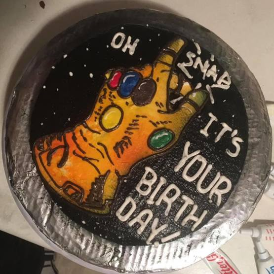 My roommate made an Infinity Gauntlet birthday cake for my nephew.