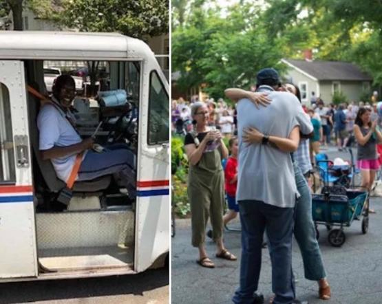 This mailman decided to retire, the whole neighborhood threw him a goodbye party