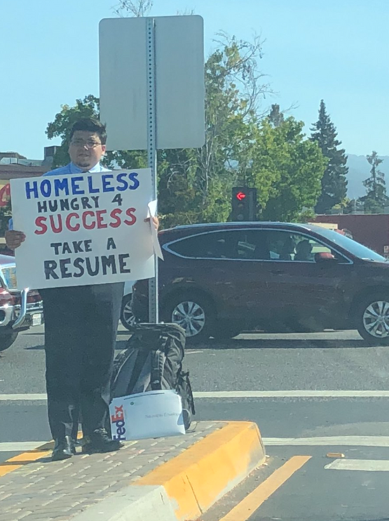A homeless man in Silicon Valley was handing out copies of his resume