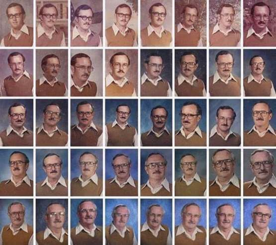 Dale Irby, a teacher with a great sense of humor who wore the same outfit for yearbook photo 40 years in a row.