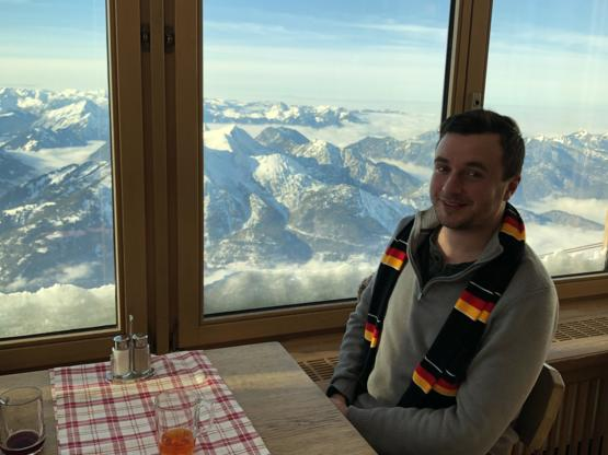 Dinner on the Zugspitze on the border of Germany and Austria. Probably the best view I've ever had while eating.